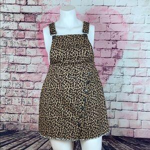 FOREVER 21 Cheetah Print Overall Denim Dress Sz 1X